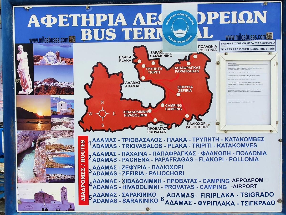 Milos bus timetable summer 2020