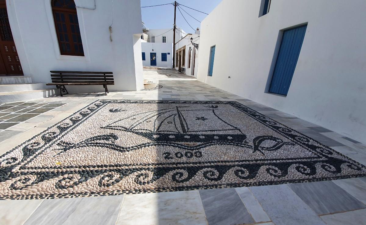 A beautiful mosaic in Plaka Milos Greece