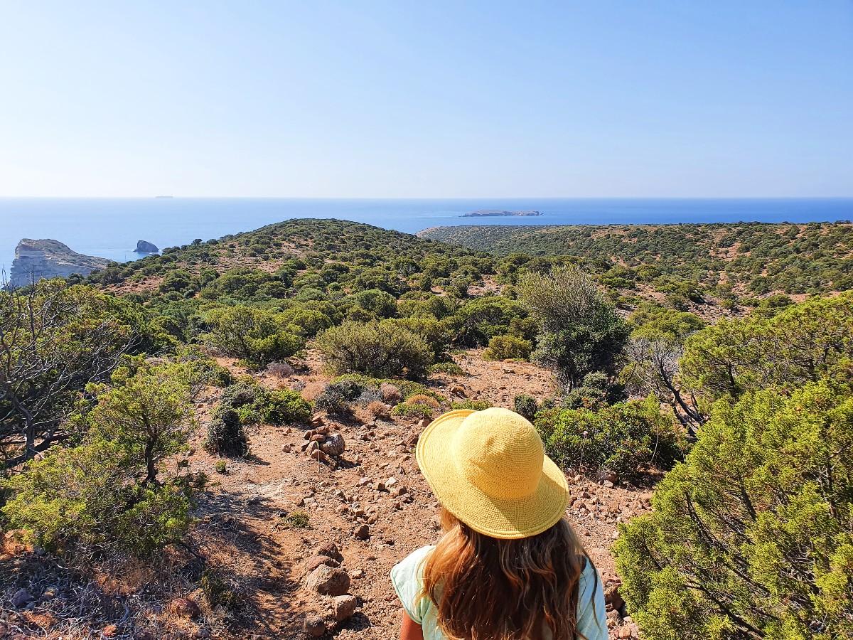 Vanessa hiking in Milos Greece