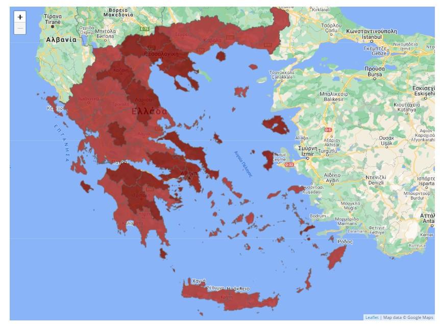 Lockdown map Greece 2021