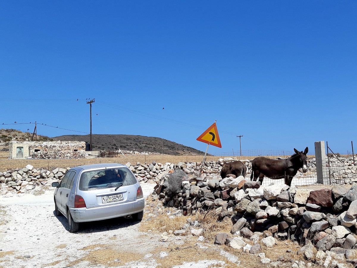 My car and a donkey in Kimolos Greece