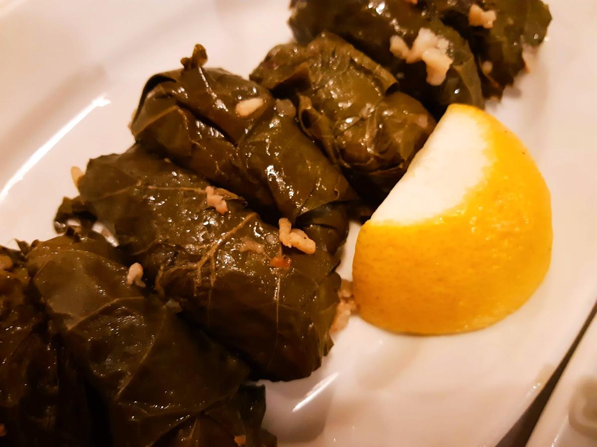 Greek dolmadakia stuffed vine leaves