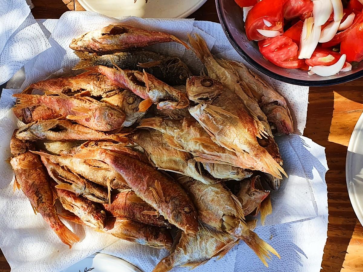 Greek food - Fried red mullet barbounia