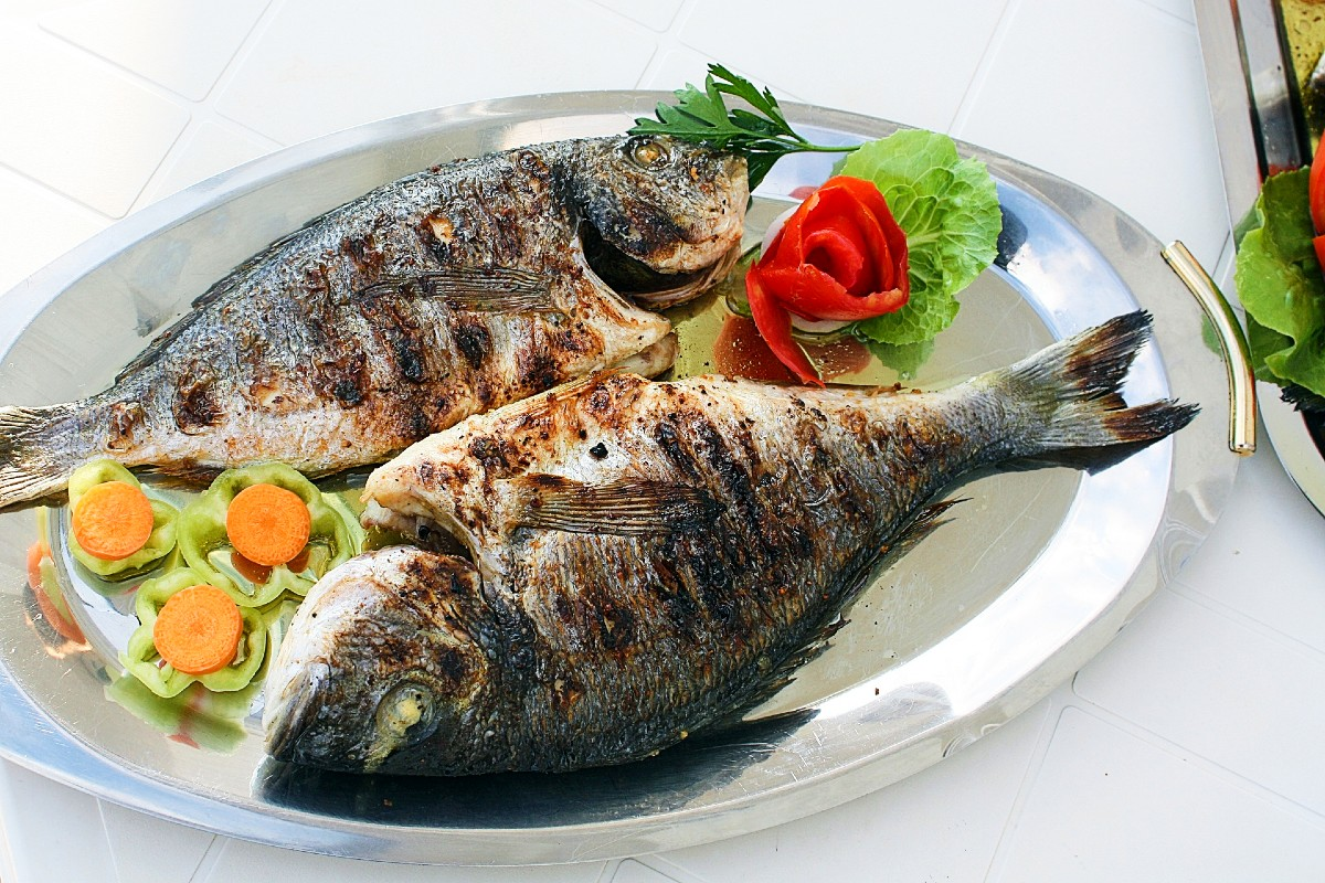 Grilled fish is common in Greece