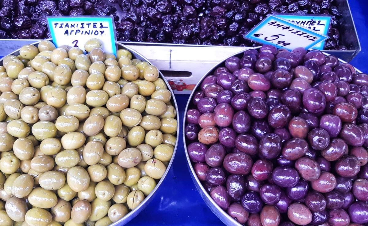 Black and green Greek olives