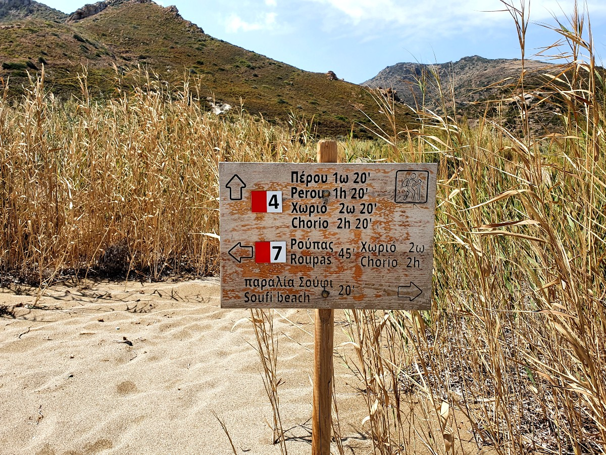 Sign for hiking trail in Kimolos Greece