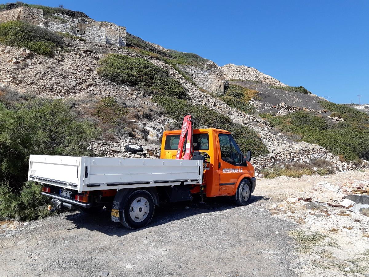 A mining truck in Kimolos Greece