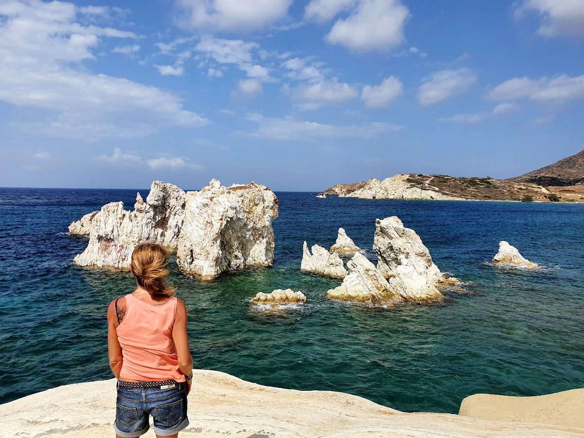 Mavrospilia rocks in Kimolos Greece