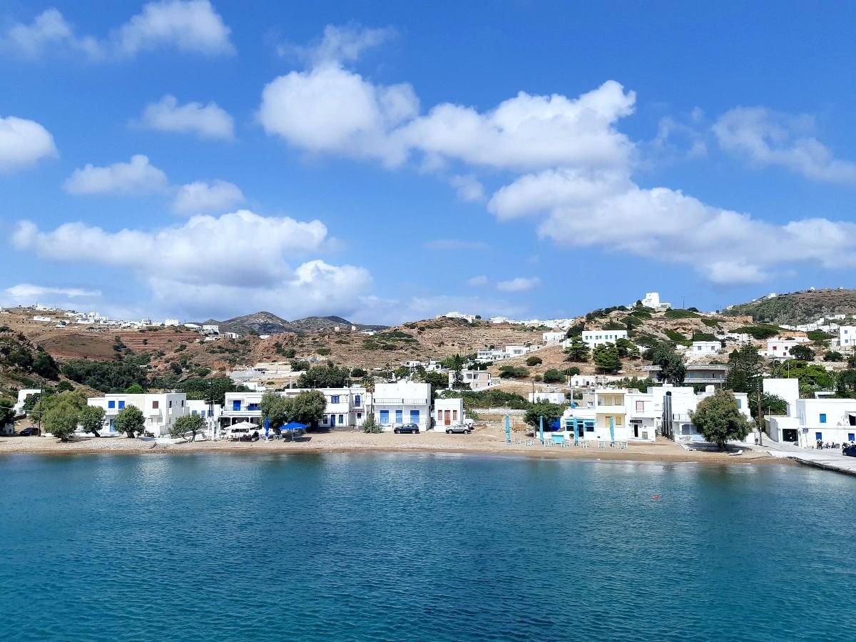 View of the port town Psathi, Kimolos Greece