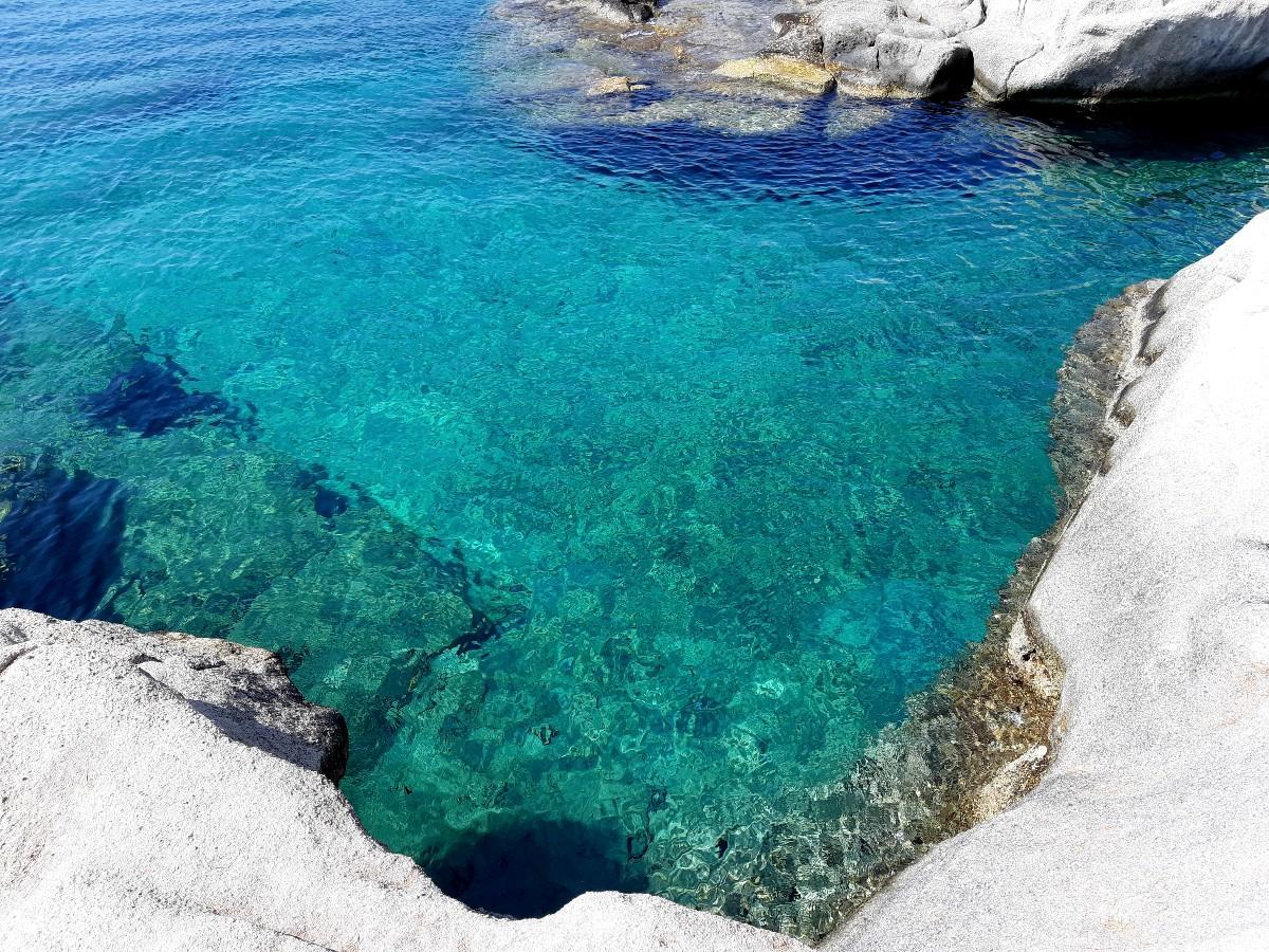 Crystal clear blue sea in Kimolos Greece