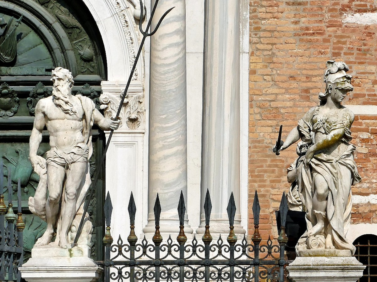 Statues of Athena and Poseidon in Venice