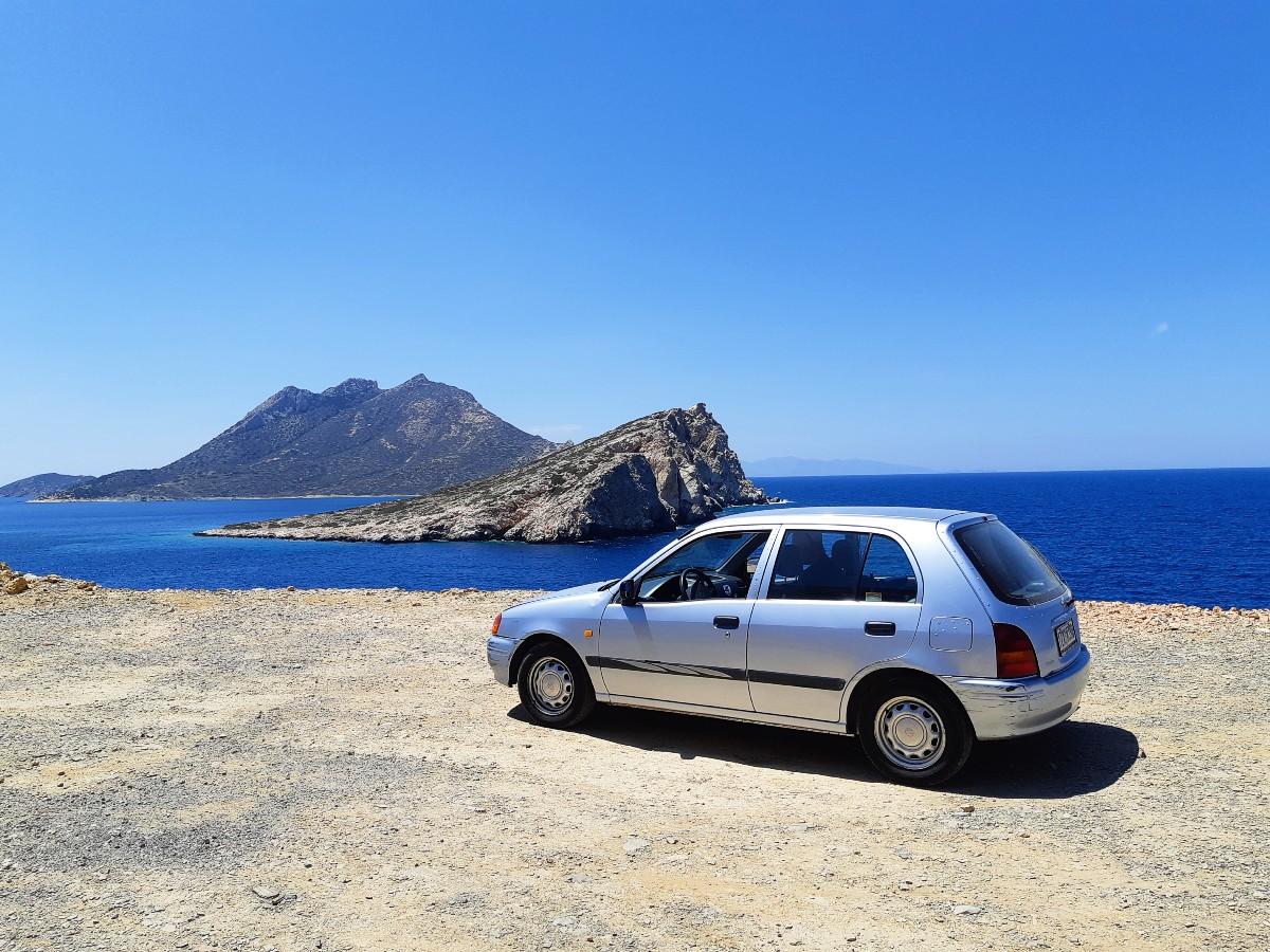 Our car in Amorgos Greece