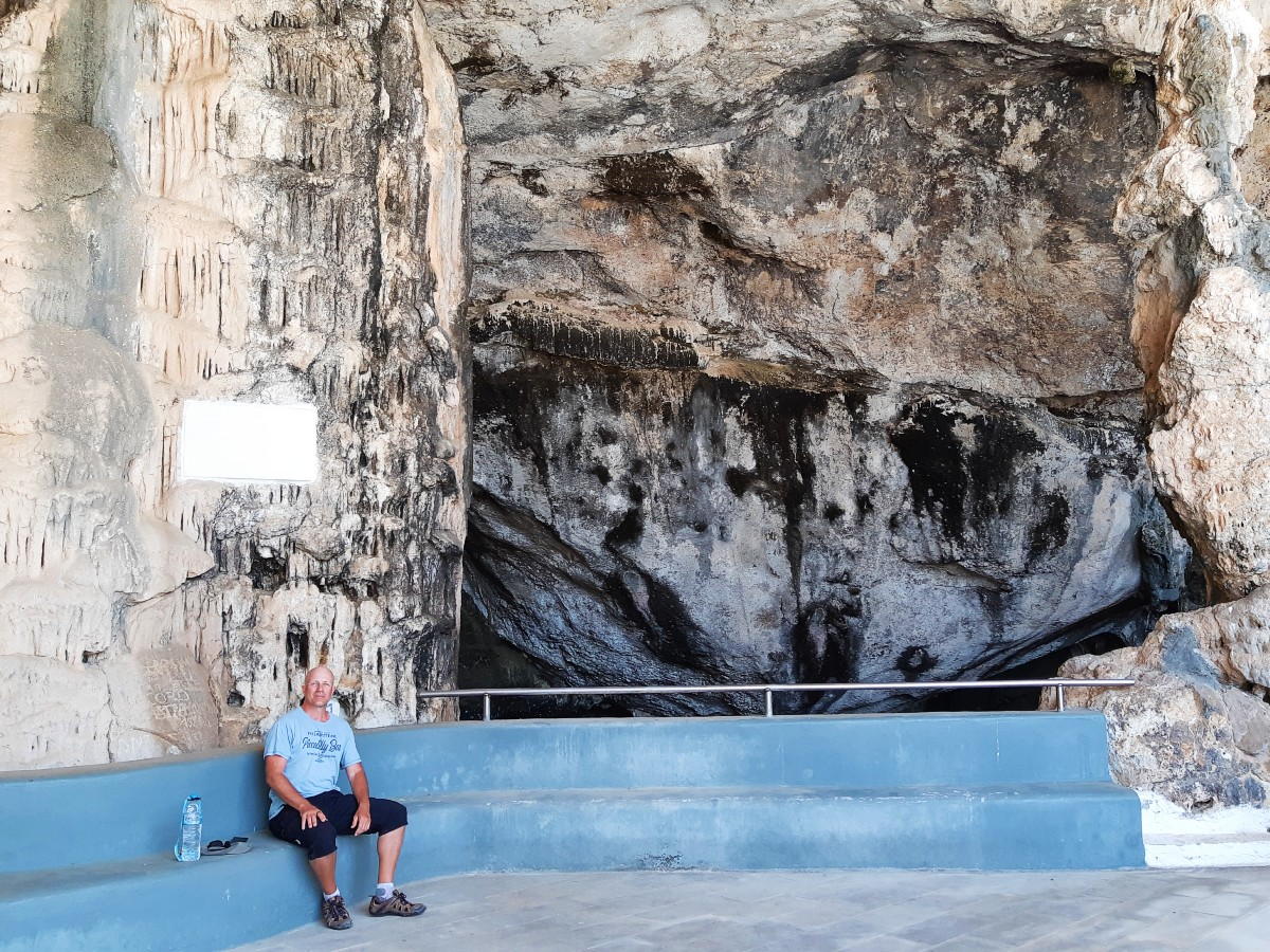 Sitting outside Antiparos Cave Greece