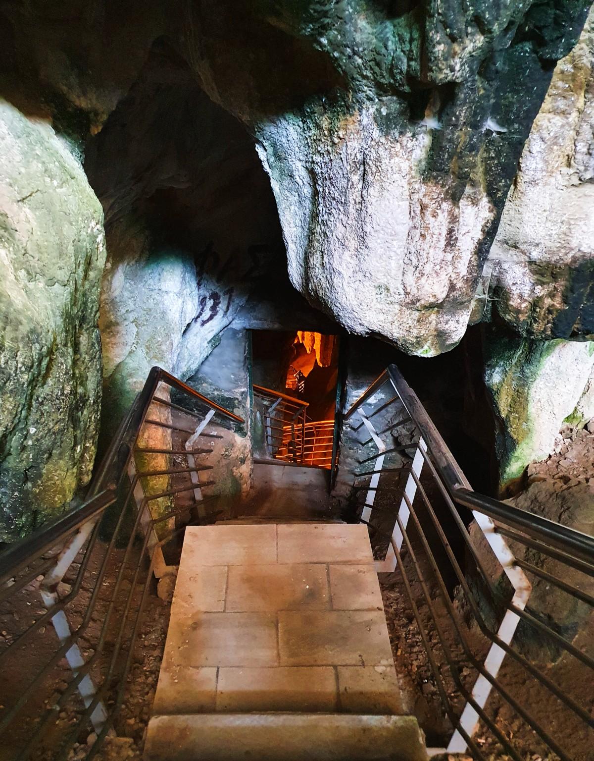 Antiparos Cave can be explored through a staircase