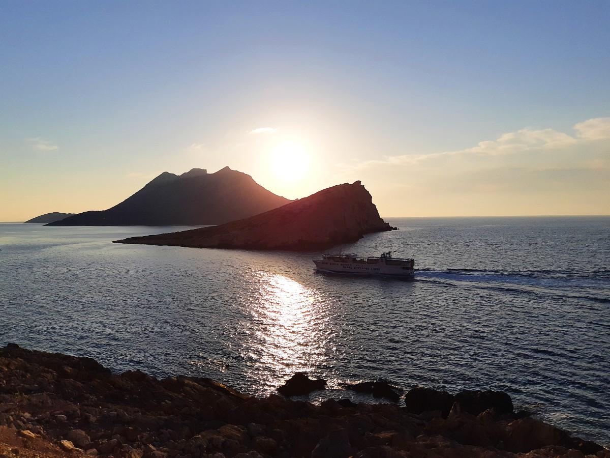 Express Skopelitis sailing past Agios Pavlos beach in Amorgos