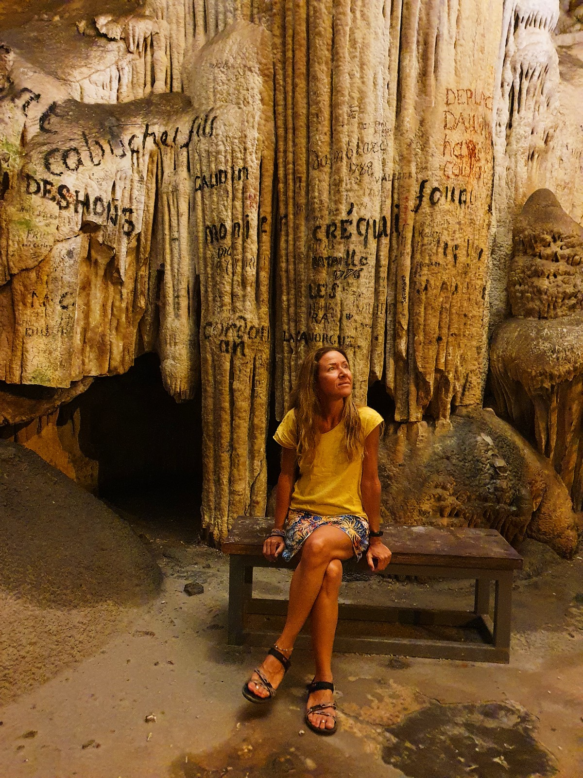 Sitting inside the cave of Antiparos