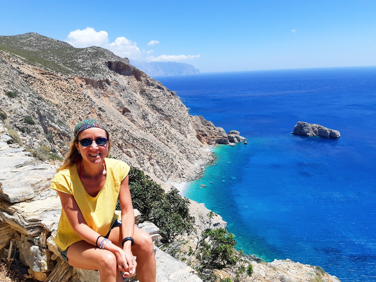 View from Hozoviotissa monastery in Amorgos Greece