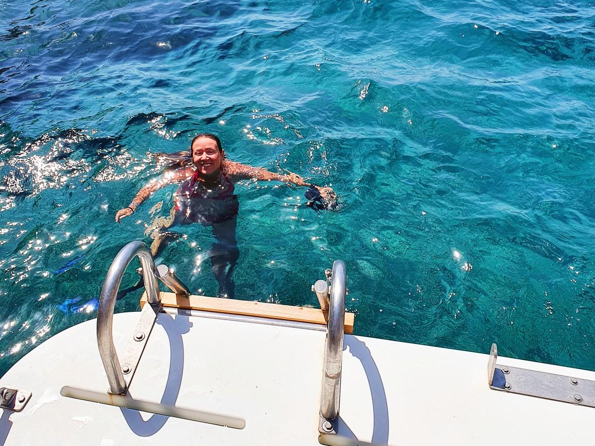 Snorkelling off the boat in Despotiko island