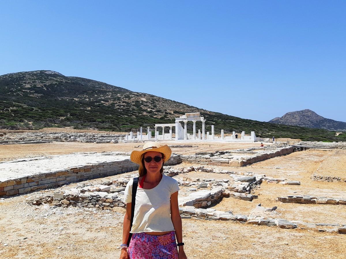 Vanessa in front of the sanctuary of Apollo at Despotiko island Greece