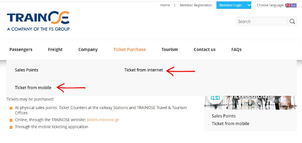 Book train tickets in Greece on the TRAINOSE website