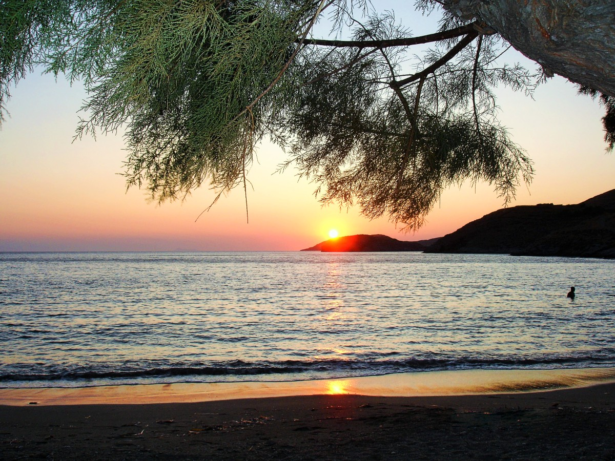 Sunset over the beach in Kythnos
