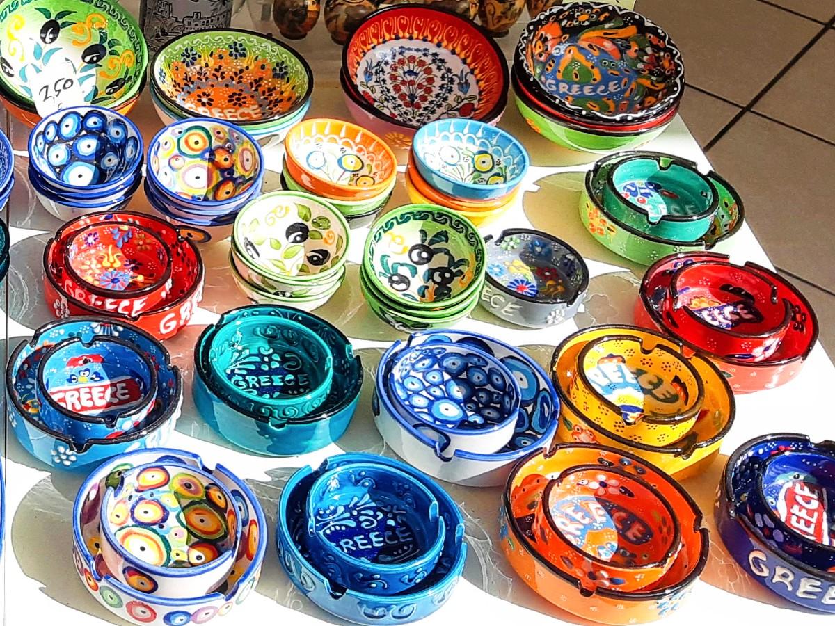 Colourful Greek ceramics are popular presents