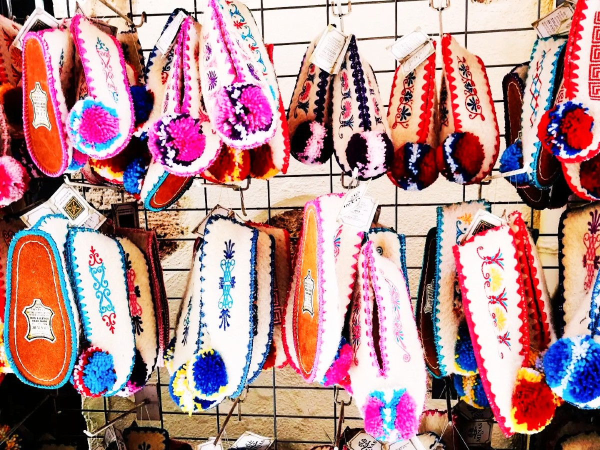 Traditional Greek shoes are a colourful souvenir